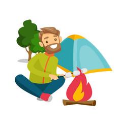 Caucasian man roasting marshmallow over campfire vector