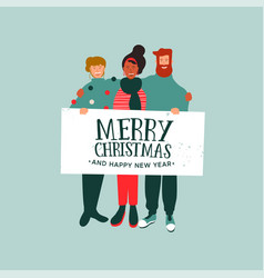 christmas and new year card of diverse people team vector image