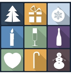 christmas flat icons in nine vector image