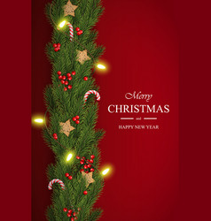 christmas on red background with wishes vector image