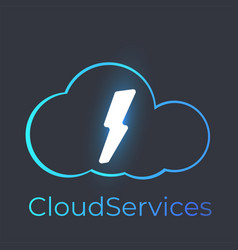 cloud services logo with glow lightning vector image