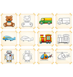 Coloring template for different toys vector