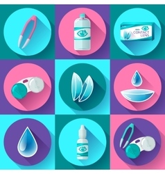 contact lenses icon set Flat design style vector image