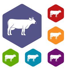 cow icons set hexagon vector image