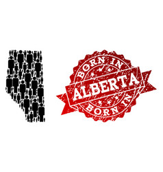 Crowd collage of mosaic map of alberta province vector