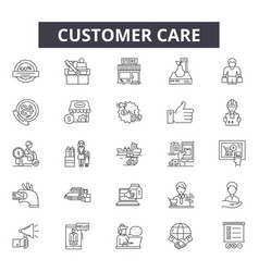 customer care line icons signs set vector image