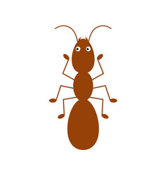 Cute cartoon little red ant isolated on a white vector