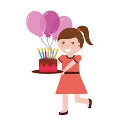cute girl holding birthday cake with candles and vector image
