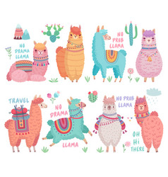 cute llamas with funny quotes funny hand drawn vector image