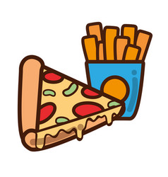 Delicious pizza and fries french food vector