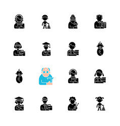 Different age and gender groups black glyph icons vector
