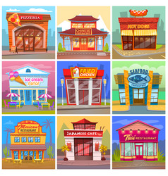Different cafe and restaurant facade buildings vector