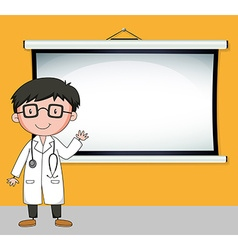 Doctor standing in front of white screen vector