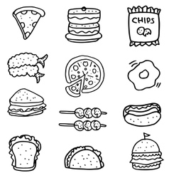 Doodle of hand draw food set vector image