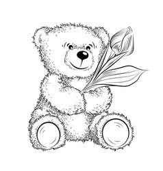 Drawing teddy bear with flower vector