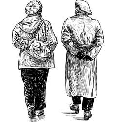 Elderly women walking vector