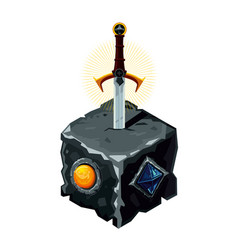 excalibur sword in a stone legendary weapon vector image