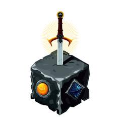 Excalibur sword in a stone legendary weapon vector