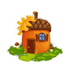 Fairy acorn dwarf or gnome house dwelling vector