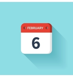February 6 Isometric Calendar Icon With Shadow vector