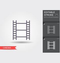 film strip line icon with editable stroke vector image