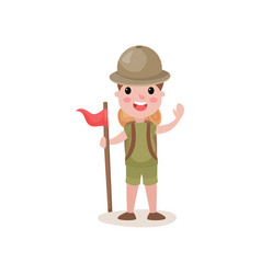 flat boy scout standing with red flag and waving vector image