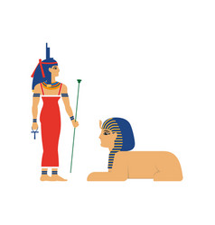 Flat isis egypt goddes and sphinx vector