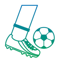 Foot kicking ball football soccer icon image vector
