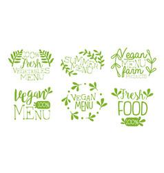 fresh vegan menu labels set fresh farm products vector image