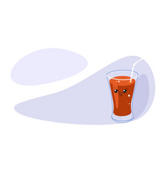 funny glass of tomato juice with smiling face vector image