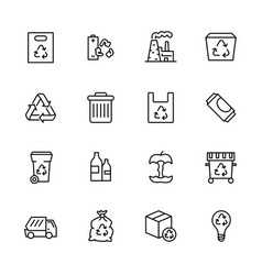 Garbage collection and waste disposal icon simple vector
