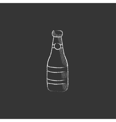 Glass bottle Drawn in chalk icon vector image