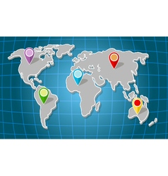 Global world map with colorful marker vector image