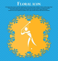 Golf icon floral flat design on a blue abstract vector