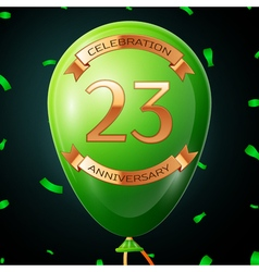 Green balloon with golden inscription twenty three vector image