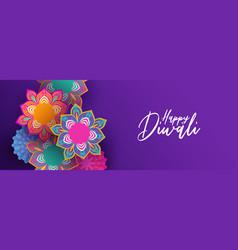 happy diwali banner indian papercut flowers vector image