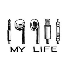 headphones smartphone my life vector image
