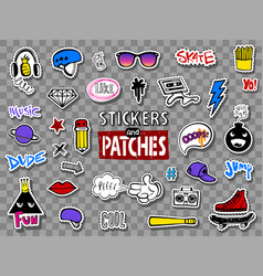 hipsters teens stickers set vector image