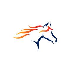 Horse line art logo design template vector