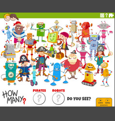 How many cartoon robots and pirates educational vector