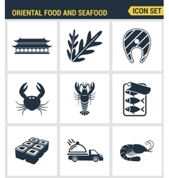 Icons set premium quality of oriental food and vector