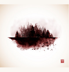 Ink wash painting with misty wild forest in vector