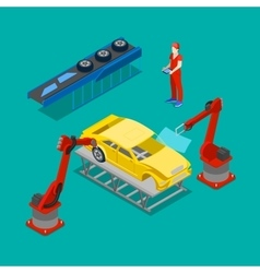 Isometric Car Production Assembly Line in Factory vector