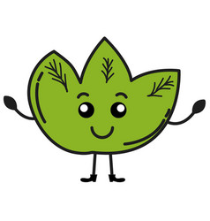 Leafs plant ecology kawaii character vector