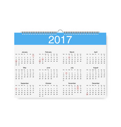 loose-leaf calendar for 2017 with pointers vector image