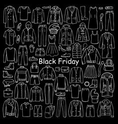 Man and woman hand drawn clothes black friday vector