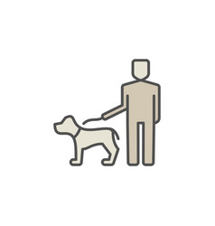 man with a dog colorful icon vector image