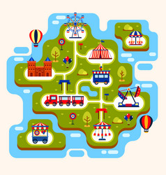 Map of amusement park with attractions vector