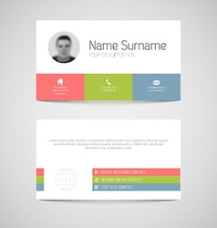 Modern business card template with flat user vector image