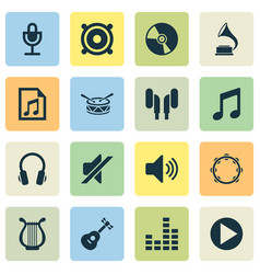 Multimedia icons set collection of silence start vector